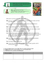 English Worksheets: DEBATE HOUR - WHAT MAKES A GOOD SUPERHERO ? - READING AND SPEAKING ACTIVITIES + VOCABULARY TO USE FOR A DEBATE - INCLUDES KEY ANSWERS