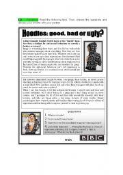 English Worksheets: Hoodie - reading comprehension