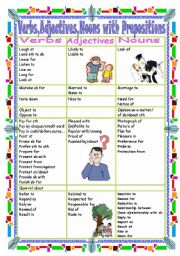 English Worksheet: Verbs,Adjectives,Nouns with Prepositions(Part  3 L-R)