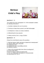 English Worksheets: Serious Child�s Play