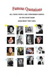 English Worksheets: FAMOUS QUOTATIONS