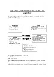 English Worksheet: SPEAKING AND LISTENING GAME