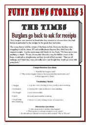 English Worksheets: Funny News Stories 3 - Burglars Return for Receipts