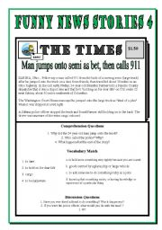 English Worksheets: Funny News Stories 4 - Man Jumps onto semi as a bet, then calls 911