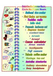 Proper and Common Nouns 1 ** fully editable with answer key