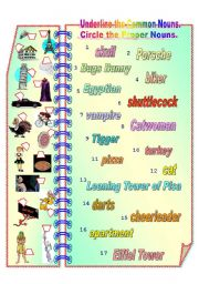Proper and Common Nouns 2 ** fully editable with answer key