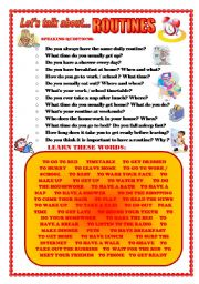 English Worksheets: LET�S TALK ABOUT DAILY ROUTINES (SPEAKING SERIES 51)