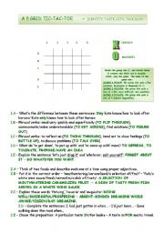 English Worksheet: TIC-TAC-TOE