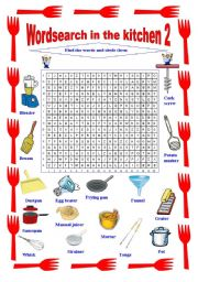 English Worksheet: Wordsearch In The Kitchen 2
