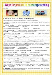 English Worksheet: BACK TO SCHOOL - WAYS FOR PARENTS TO ENCOURAGE READING