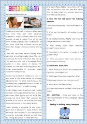 English Worksheet: BACK TO SCHOOL -BENEFITS OF READING AS A TEEN