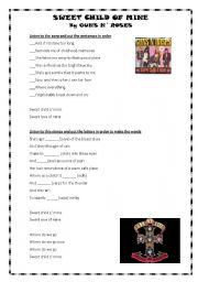 English Worksheet: sweet child of mine- guns n´roses