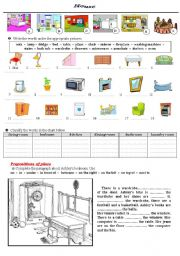 English worksheet: House and prepositions of place