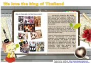 English Worksheet: We love the king of Thailand