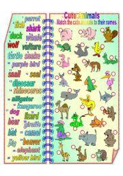 English Worksheet: Cute Animals 1 **fully editable