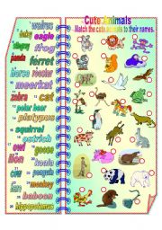 English Worksheet: Cute animals 2 **fully editable
