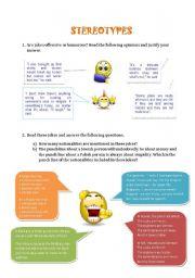 English Worksheet: Stereotypes