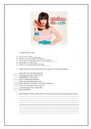 English Worksheet: Katy Perry Video Activity Hot and Cold.