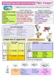 English Worksheets: Comparing and contrasting - Public transport ( plus B&W)