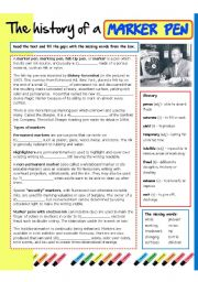 English Worksheet: The history of a marker pen
