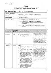 Lesson Plan - Adjectives - ESL worksheet by ningshuang