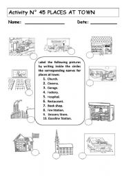 english worksheets places at town. Black Bedroom Furniture Sets. Home Design Ideas