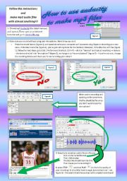 English Worksheets: tutorial AUDACITY - page 1