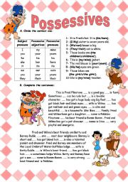 English Worksheets: POSSESSIVES  + ACTIVITIES    (2 pages)