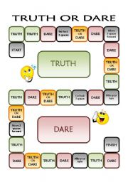 English Worksheet: Truth or Dare Board Game