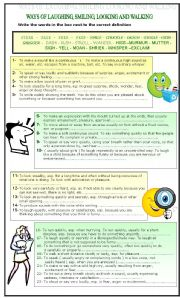 English Worksheets: VOCABULARY: WAYS OF LAUGHING, SMILING, LOOKING AND WALKING