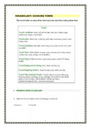 English Worksheet: Vocabulary about Cooking terms