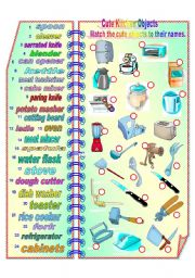 English Worksheet: Cute Kitchen Objects **fully editable
