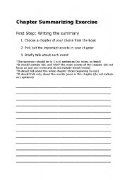English Worksheet: Literature Unit : Chapter Summarizing Exercise