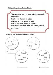 english worksheets using he she it and they. Black Bedroom Furniture Sets. Home Design Ideas