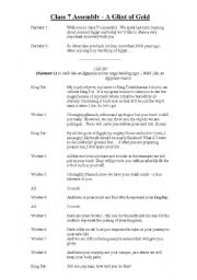 English Worksheet: Egypt Assembly Script for a class to perform in front of the school