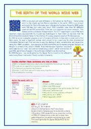 English Worksheets: THE BIRTH OF  THE WORLD WIDE WEB.