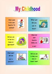 English Worksheet: CONVERSATION CARDS: MY CHILDHOOD