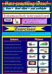 English Worksheet: Have something (done) +keys