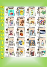 English Worksheet: School Subjects Poster and exercises - 2 pages