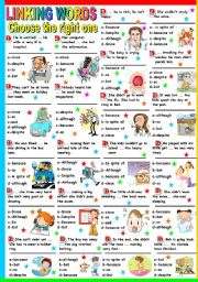 English Worksheet: LINKING WORDS-MULTIPLE CHOICE (B&W+KEY INCLUDED)