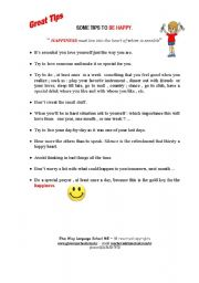 English worksheet: Some Tips to Be happy
