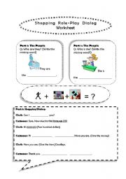 English worksheet: Shopping Role Play Dialog