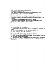 English worksheets DO´S AND DONT´S OF TELEPHONE ETIQUETTE