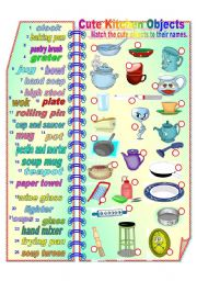 English Worksheet: Cute Kitchen Objects 2 **fully editable