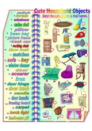 English Worksheets: Cute Household Objects **fully editable