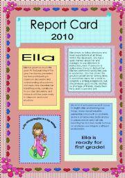 English Worksheets: Report Card  GIRLS