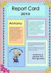 English Worksheets: K3 Report Card  BOYS