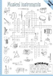 English Worksheet: MUSICAL INSTRUMENTS - CROSSWORD
