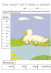 English Worksheet: Five little ducks cut & paste