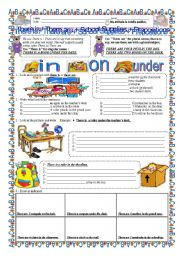 English Worksheet: There is / There are +School Supplies + Prepositions